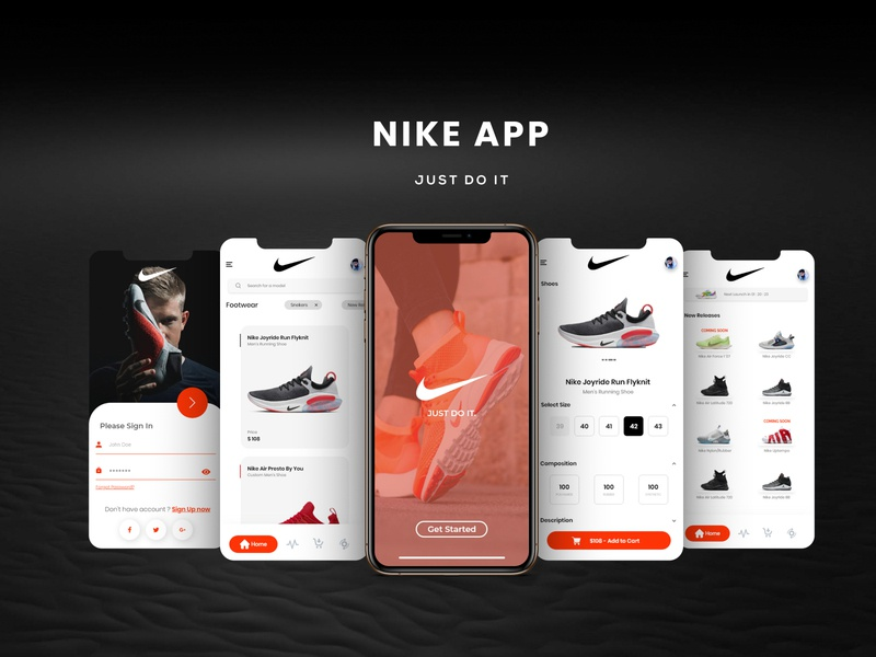 Nike App animation web ux ui app black abstract branding design nature nike shoes