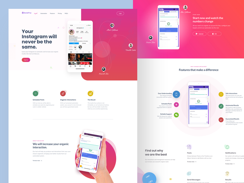 instagram profile management web app web designer mobile app ui mobile web mobile app marketing page landing page sales page flat wordpress icons illustration freelance ui ux freelancer website instagram app instagram saas webapp app