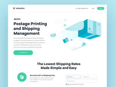 Shipping Landing Page shipping management vector art illustration flat artwork usps shipping landing page
