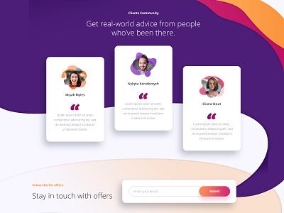 Testimonial website design creative ui ux website clients list feedback testimonial client work