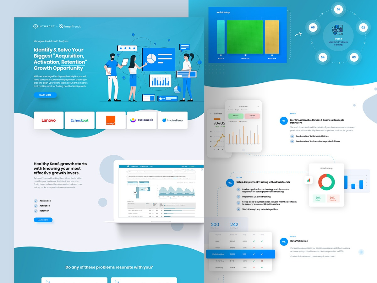 Saas product design landing page