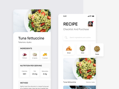 Recipe app recipes ux design clean ios ui redesign