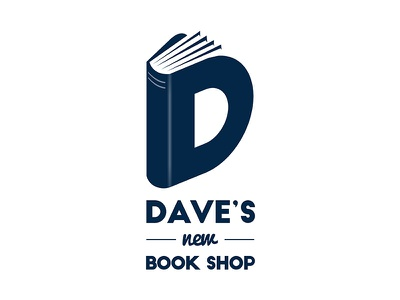 Dave's new book shop Logo illustration typography design artdirection book logo logodesign