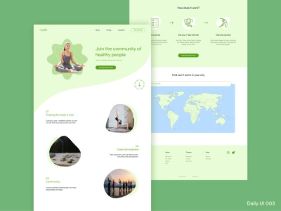 Daily UI 003 - Landing Page graphic design daily ui challenge meditation sport healthy lifestyle health web design website wellbeing yoga one page landing page 003 ux ui dailyui