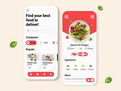 Food Delivery App uxdesign uidesign ux ui illustration design app mobile mobile ui mobile app design mobile design