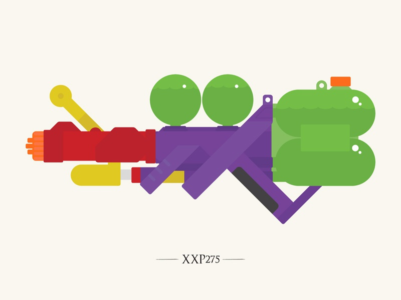 XXP275 super soaker vector summer water fun colour illustration