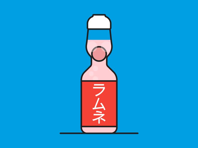 Ramune ramune katakana colorful color colour colourful japanese fun blue design tokyo japan vector illustration