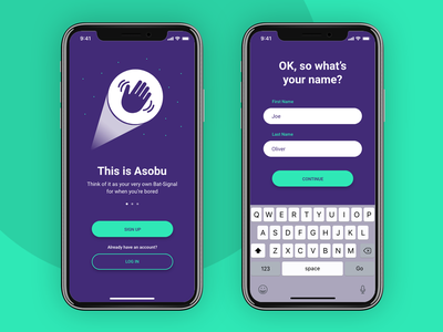 Asobu App – Sign Up signup sign up user interface ux green purple design colorful color fun colourful colour daily ui dailyui dailyui001 daily ui 001 daily ui