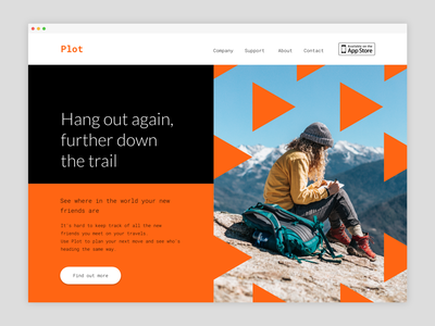 Daily UI #003 – Landing Page web minimal simple bold lato roboto orange daily ui 003 daily ux ui daily ui dailyui design colourful colorful color vector colour