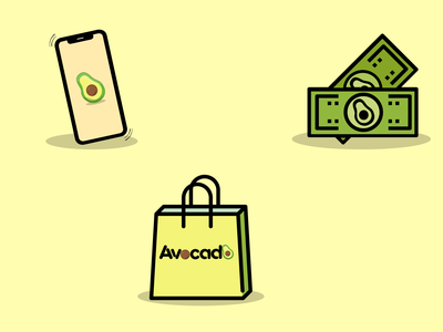 HL Avocado Store branding design avatar icons illustration icon