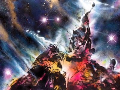 Carina Nebula Canvas cheba nebula space painting cosmos canvas spray paint acrylic carina abstract graffiti street art