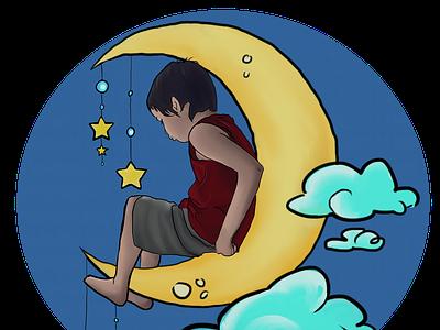 Moon Boy boy moon clouds illustration design