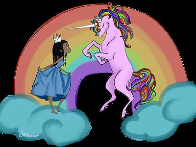 Magical Meeting princess child unicorn rainbow clouds girl illustration design