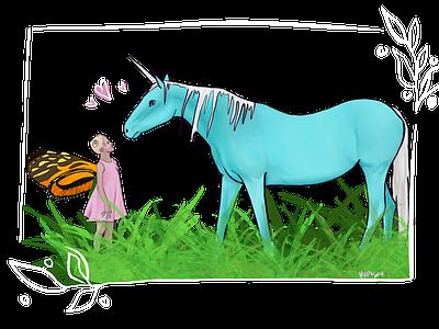 Fairy Wonder unicorns childrens illustration children child kids kid unicorn butterfly girl illustration design