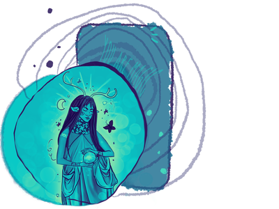 You are magic blue butterfly woman lady girl illustration design fantasyart fantasy magician magic