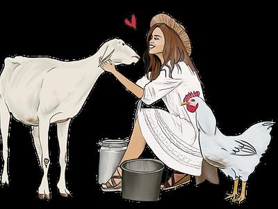 On the farm farm goat chicken woman lady girl illustration design