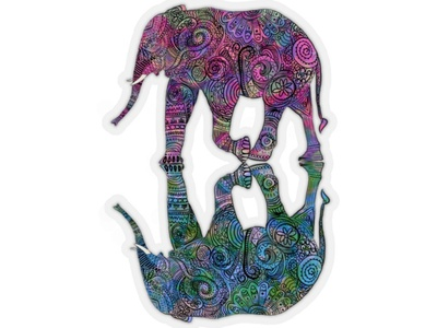 Twin flame rainbow color elephant flower floral illustration design