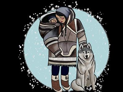 Anaana canada arctic indigenous native inuit wolf kid child woman lady girl illustration design