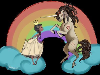 Katimajut fantasy unicorn rainbow indigenous princess canada inuit native kid clouds child girl lady illustration design