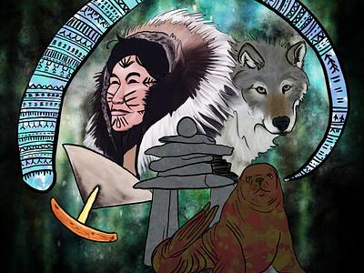 Annasiak aurora walrus bone native inuit woman lady girl illustration design