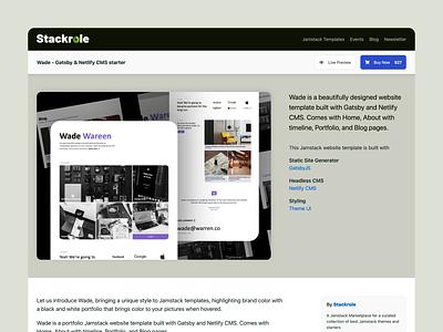 Stackrole product page landing page design product jamstack website ux ui website design
