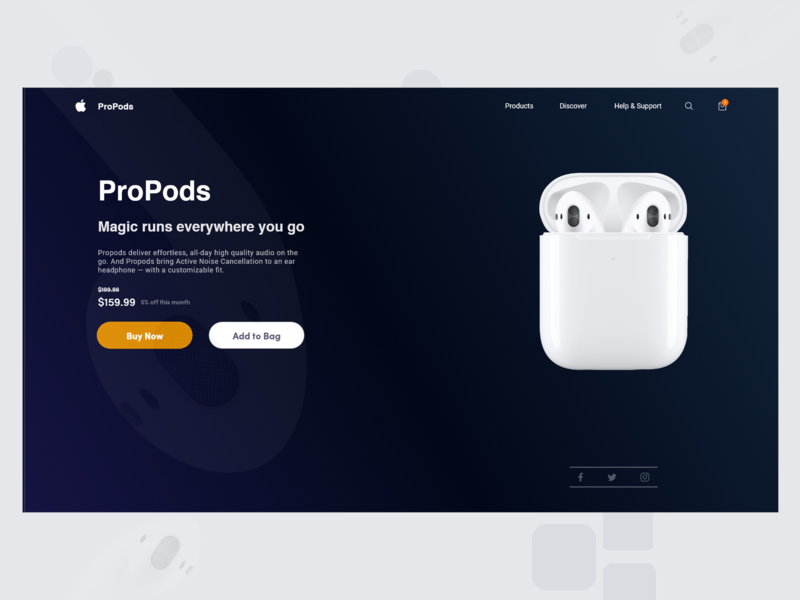 Airpods as ProPodsLanding Page Design illusrator userexperience nepal microinteraction animation aroonanim nepali prototype airpods dribblenepal dribbleshot uiuxdesign uiuxnepal graphicdesign adobephotoshop adobexd