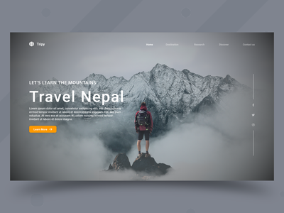 Travel Landing Page UI Design design landingpage website prototype webdesign webpagedesign parallax photoshop graphicdesign dribbleshot nepali nepal uidesign uiux adobexd
