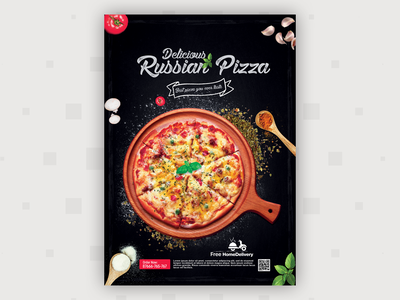Pizza flyer Design illustrator dribbbleshot restaurantfoodflyerdesign foodmockup aroonanim graphicdesign photoshop flyer