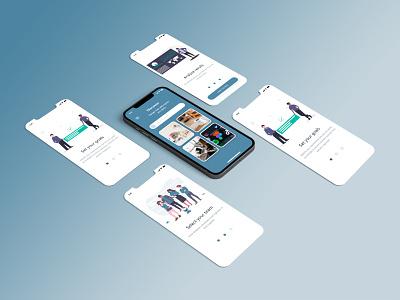 OnBoarding and Menu Navigation UI Design Concept adobexd photoshop app design mockups gradient dribbblenepal dribbbleshot nepal aroonanim uidesign uiux appscreen