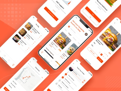 Food App UI Design interaction design prototype appmockup screendesign mobilescreen adobe illustrator photoshop graphicsdesign nepal dribblenepal aroonanim uidesign uiux adobe