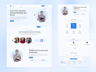 E-Learning Website Design Concept website design dribbbleshot dribblenepal dribbble mockups uiuxdesign figma adobexd uidesign aroonanim uiux webdesign website
