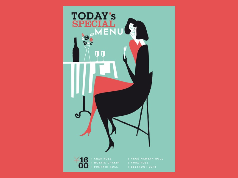Today's Special wine table sushi font switzerland illustration graphic design menu japan kobiri ashi