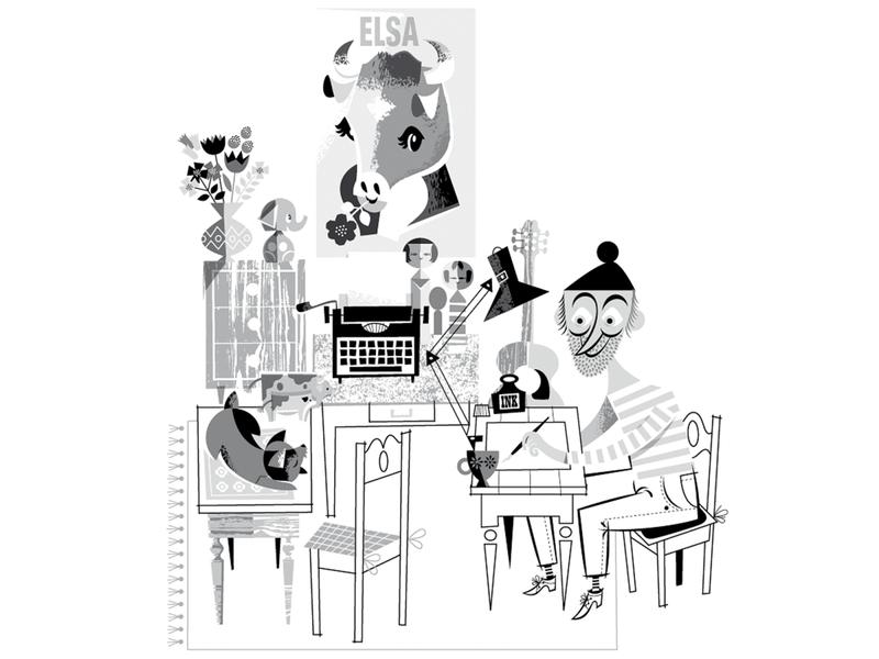 Office retro flower guitar kokeshi dog black and white spatial office graphic design kobiri illustration ashi