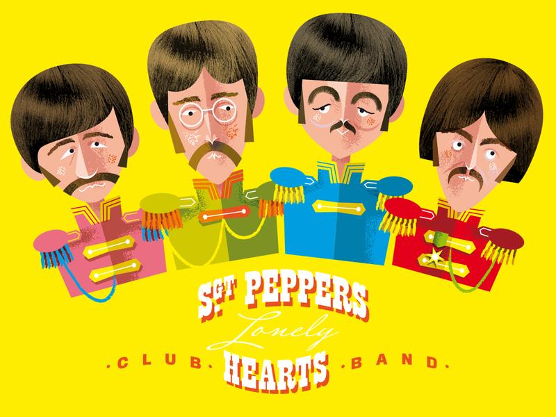 Sgt. Pepper's broken Heart fan beat retro fab ringo george paul johnny beatles music typogaphy graphic design kobiri illustration ashi