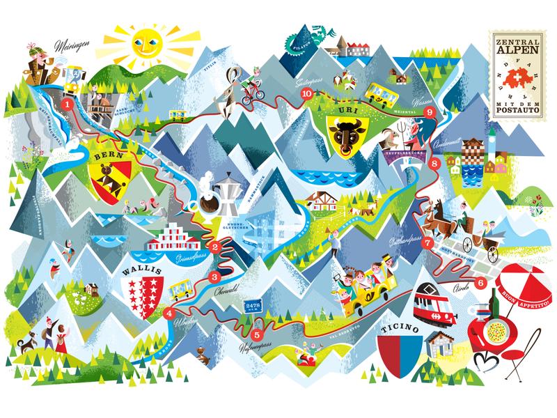 Swiss Alps trekking alps colorful trip train bus mountains switzerland travel map retro kobiri illustration ashi