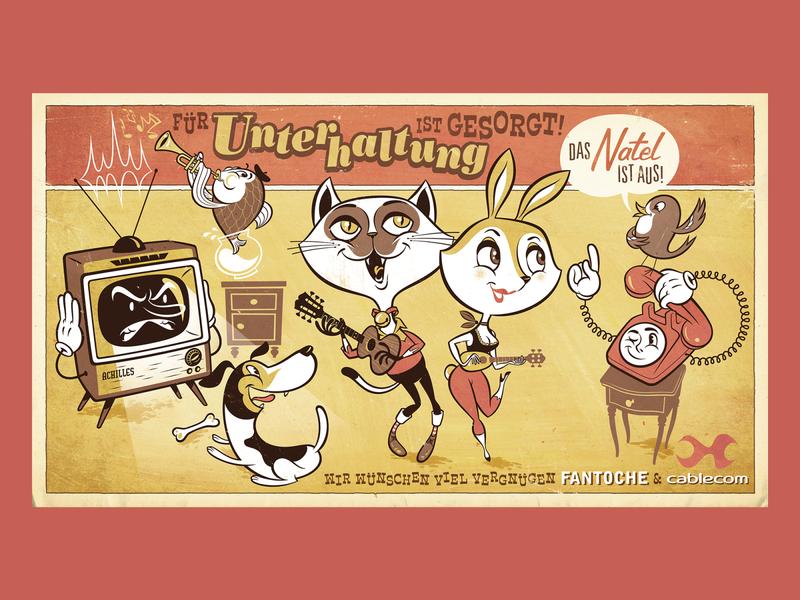 House Music switzerland tv telephone bird dog cat advertisment cinema poster art animal retro graphic design kobiri illustration ashi