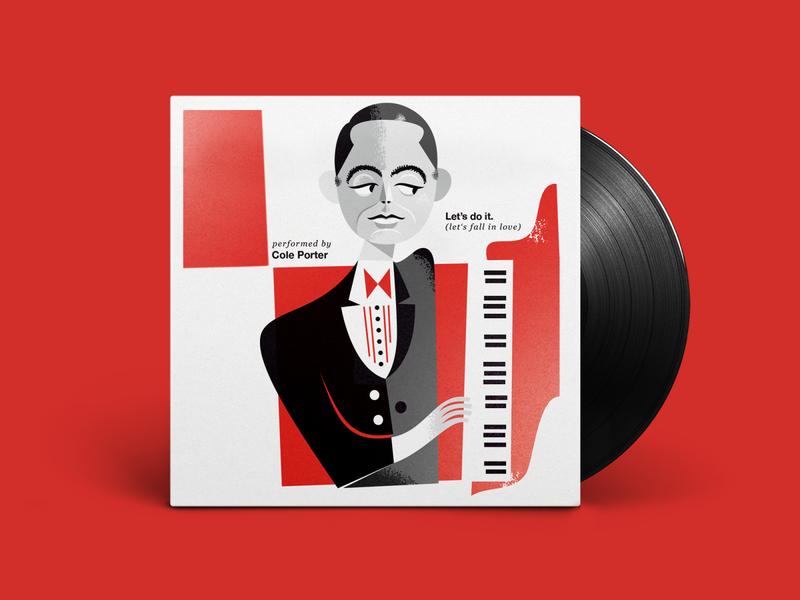 Let's do it fan piano love helvetica style cole porter classic jazz vinyl record vinyl red music retro graphic design kobiri illustration ashi