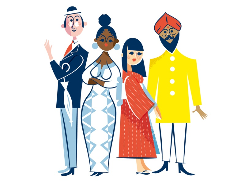 Come togther verctor colortheme ethiopia england india japan country nations diversity multicultural character kobiri illustration ashi
