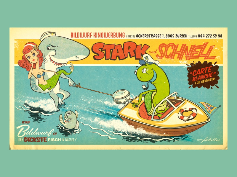 Strong and Fast poster advertising graphic novel typography comic ocean boat turtle mermaid shark animal switzerland retro graphic design kobiri illustration ashi