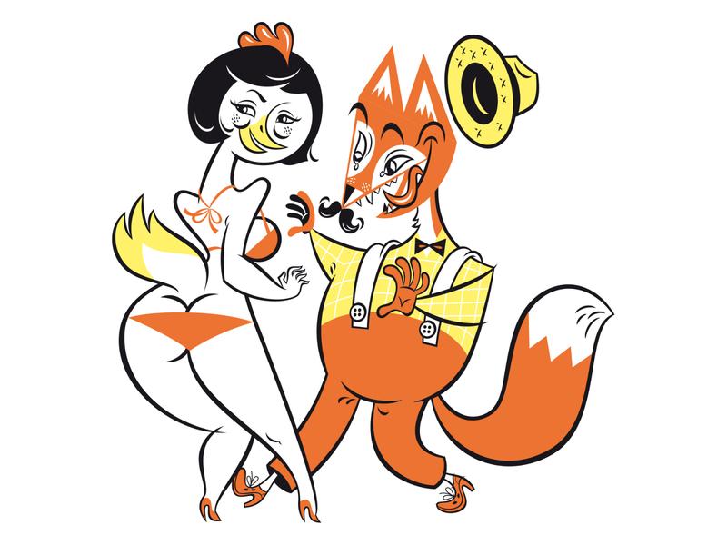 Fox and Chicken Series tongue hat eye on target flirt summer moustache bikini sexy chicken fox retro kobiri illustration ashi