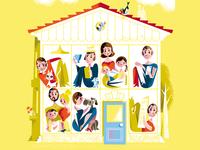 Happy at Home? magazine illustration homesweethome dog cat corona covid-19 lifestyle house magazine retro kobiri illustration ashi