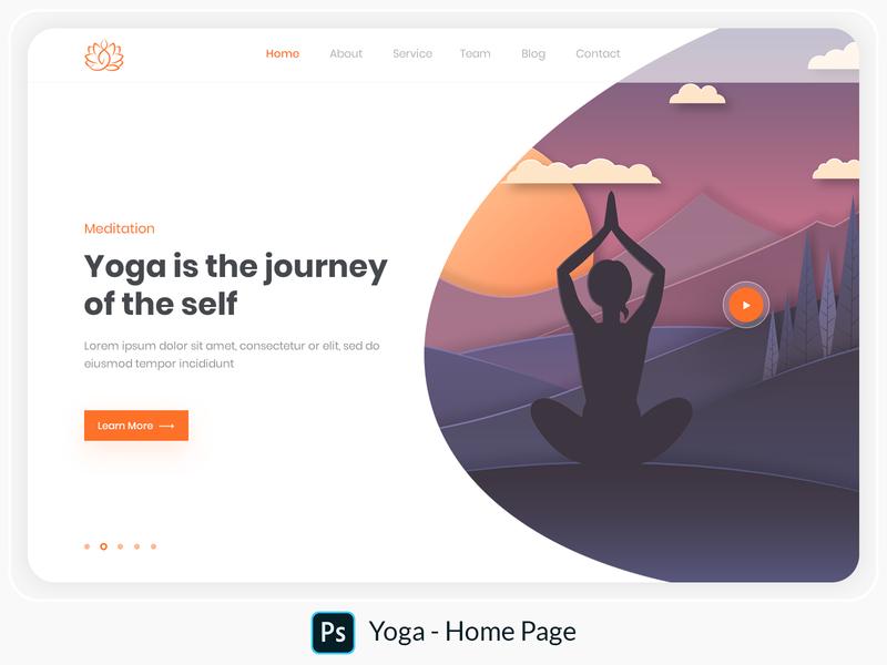 Yoga - Home Page design adobe photoshop clean web page illustration landing page illustration hero image illustration home page illustration illustration vector banner web design web meditation yoga