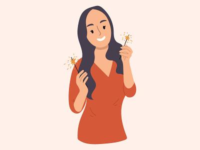 Girl with sparklers artwork flat illustration design christmas girl character vector