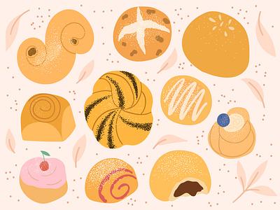 Delicious buns bakery vector artwork procreate illustartor design sweet bun illustration flat