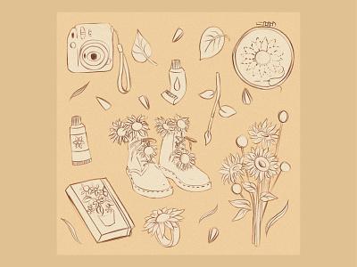 Sunflowers mood study sunflower sketch vector artwork illustration