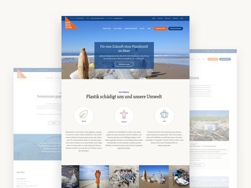 Küste gegen Plastik sea environment flat clean website webdesign
