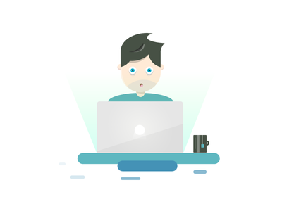 Working Dude – Illustration clean flat macbook work dude illustration