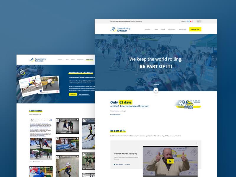 Speedskating Kriterium whitespace website webdesign design clean