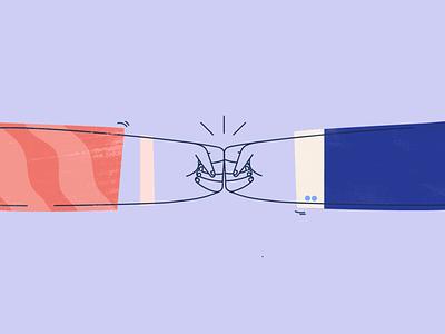 Successful team sales 2d fist bump team illustration