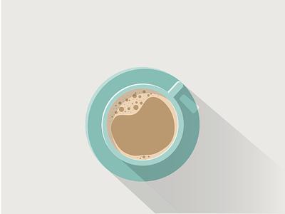Latte time illustration icon long shadow flat illustrator latte coffee